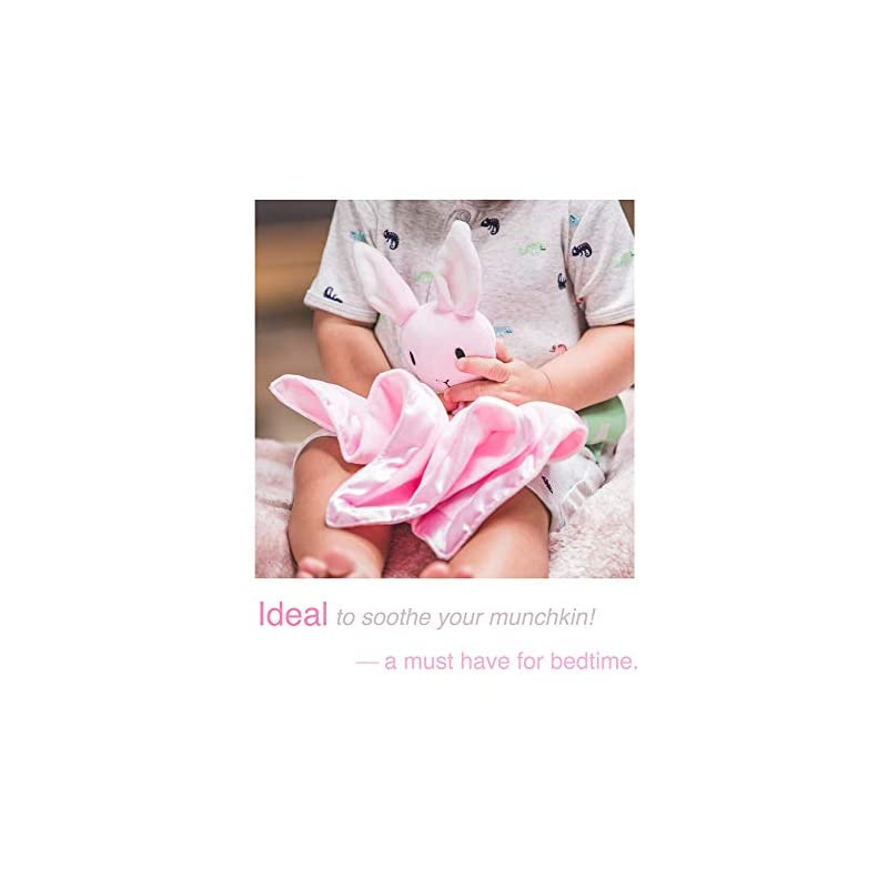 crib bedding and baby bedding berg bees security blanket for babies - soft stuffed animal baby blankie – unisex toddler blanket with sweet & adorable bunny – infant plush toys for baby boys & girls (pink)