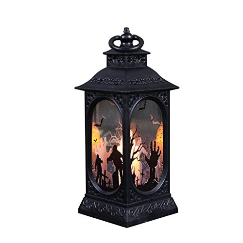 Flameless LED Halloween Candle Lantern Decorations Retro Square Holder Tabletop & Hanging Lantern Night Light LED Halloween Wind Lantern Ornaments (B)