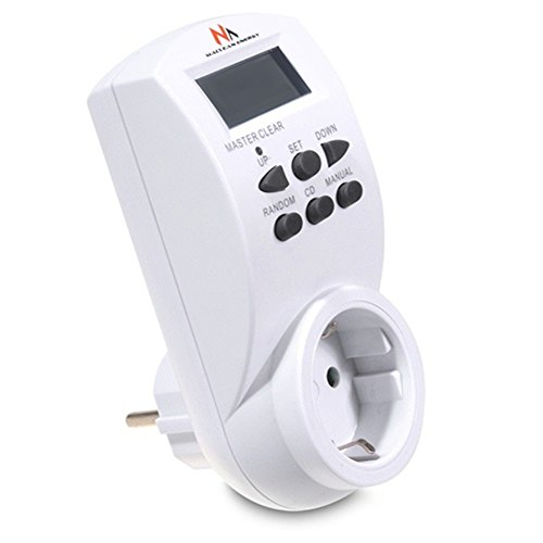 Maclean MCE05G - Programador / temporizador eléctrico digital diario (220 - 240 V, 16A) 10 programas