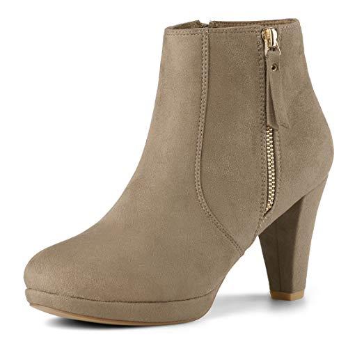 Allegra K Damen Reißverschluss Trichterabsatz Halloween Ankle Boots Stiefel Nackt 39 EU