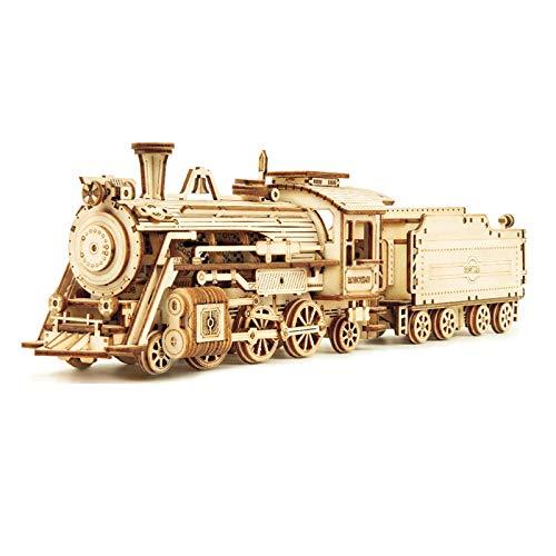 Robotime Train 3D Holzpuzzle Spielzeug Montage Lokomotive Modellbausätze für Kinder Kinder Geburtstagsgeschenk