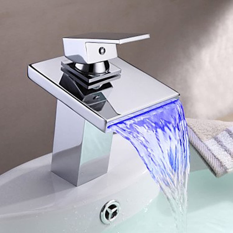 Miaoge Badezimmer Spültischarmatur in moderner Stil Thermochrome Mehrfarbig LED Edelstahl Auslauf Wasserhahn