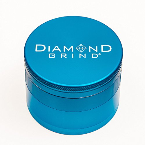 "Diamond Grind 4 Piece Aluminum Herb Grinder with screen 63mm (2.50"") TURQUOISE"