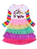Little Twin Sister Princess Unicorns Wedding Rainbow Dresses for Girl,5FT50,4-5 Years(Size 120)