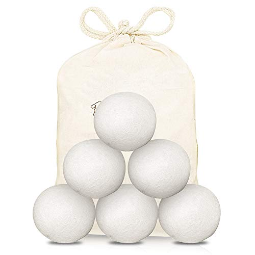 MEEQIAO Bolas de Secadora de Lana de 6 Piezas - Bolas de Secadora duraderas para secadoras - Suavizante de Telas Natural - 100% Lana de Oveja de Nueva Zelanda - Hecho a Mano (6)