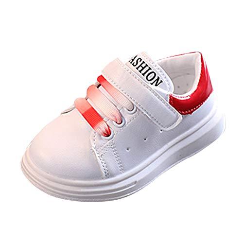 JERFER Kleinkind Mode Solide Sneaker Kind Mädchen Jungen Kleinkind Freizeitschuhe Sport Weiß Schuhe (24, Rot)