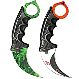 Karambit Knife Tactical Knife Stainless Steel Fixed Blade Knife with Sheath and Cord Suitable for Hunting Camping Field Survival and Collection-2 Pieces (Green&White)