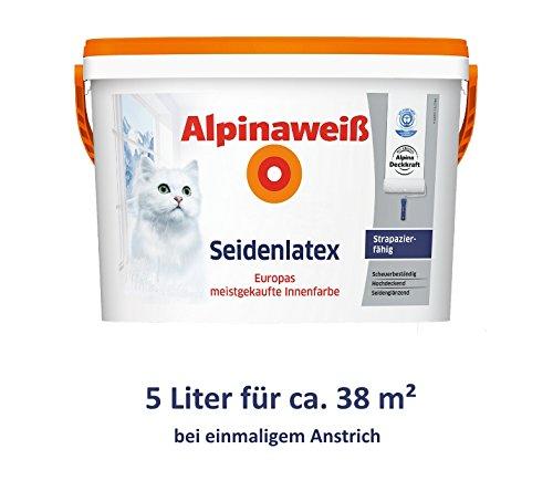 ALPINA Alpinaweiß Seidenlatex 5 Liter strapazierfähige Latexfarbe Wandfarbe Weiß Seidenglanz