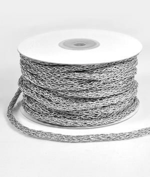 5mm Silver Braided Cord Trim – 25 Yards