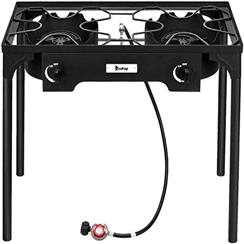 Wintue Outdoor Camp Stove High Pressure Propane Gas Cooker Portable Cast Iron Patio Cooking Burner (Double Burner 150000-BTU),for Camping,Fishing,Parties,Tailgates Hunting and Home Brewing