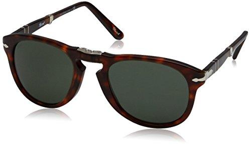 Persol PO0714 Faltbare Aviator Sonnenbrille Polarisiert 52 mm, Braun (Gestell: Havana Glas: Grey 24/31), 52