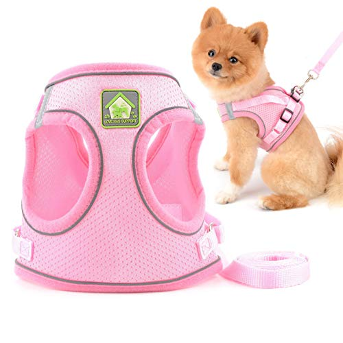 SMALLLEE_LUCKY_STORE Soft Mesh Step-in Small Dog/Cat Harness and Leash Set for Walking Escape Proof Reflective Puppy Vest Harness,Pink,Size L