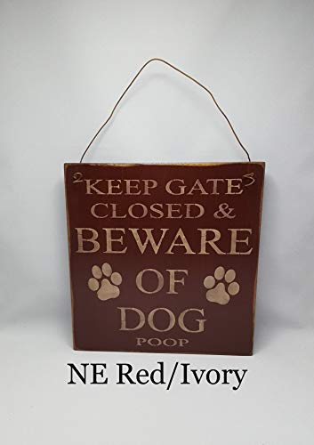 Yohoba Keep Gate Closed and Beware of Dog Poop, Dog Sign, Paws, Pet Lover, Dog Lover, Wood Sign, Primitive Sign, Exterior Sign, Gate Sign, Country