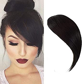 Dsoar Side Bangs Clip in Real Human Hair Bang Natural Clip on Side Bangs Straight Fringe Hair Extensions Natural Black Color