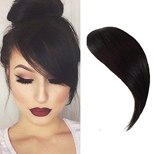 Dsoar Side Bangs Clip in Real Human Hair Bangs Natural Clip on Side Bangs Straight Fringe Hair Extensions(Natural Black Color)