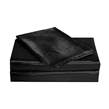 Belles & Whistles Satin Charmeuse Sheet Set, Queen, Black