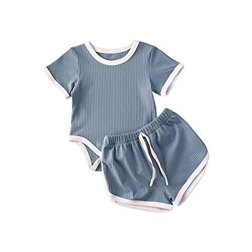 MAI Strampler für Neugeborene, Mädchen, Jungen, gerippt, kurzärmelig, Top, Shorts, Hose, einfarbig, Sommerkleidung Gr. 0-6 Monate, blau