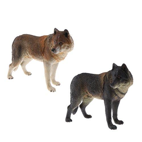 IPOTCH 2 Unids Juguete de Modelo de Animal de Lobo Realista Figura de Acción Playset Ornamento de Mesa