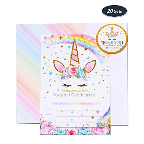 AMZTM Mágico Suministros de Fiesta de Unicornio - 20 Piezas Tarjetas de Invitación con 20 Piezas Sobres y 24 Piezas Thank You Pegatinas para Chicas Fiesta de Cumpleaños Baby Shower (Arco Iris)