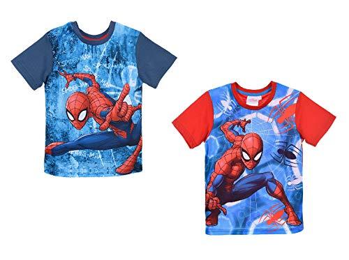 Marvel Spider-Man Jungen Kinder Shirt T-Shirt, Farbe:Blau, Größe:116 (6 A)