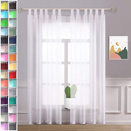 Megachest lucy Woven Voile Tab Top Curtain 2 Panels with ties (28 colors) (pure white, 56' wideX90 drop(W142cmXH228.5cm))