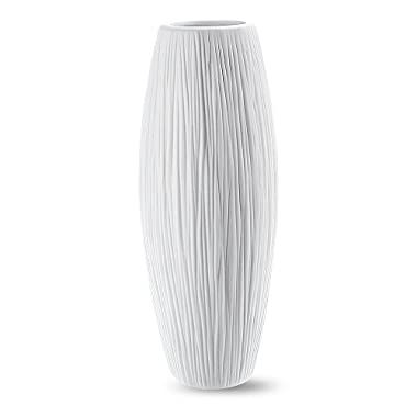 8'' Small Oval Pure White Ceramic Flower Vase - Waterfall Textured Elegant Design - Ideal Gifts for Friends and Family, Christmas, Wedding, Bridal Shower - Home Decor Vase