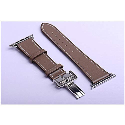 Correa de piel para reloj de 4 mm, 40 mm, correa para iwatch de 42 mm, 38 mm, compatible con Apple Watch 6, SE, 5, 4, 3, 2 y 2 (color: café, tamaño: 42 mm, 44 mm AW)