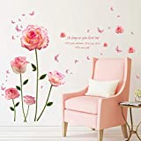 WOCACHI Wall Stickers Decals Removable Vinyl Decal Art Mural Pink Rose Home Living Room Decor Wall Sticker Art Mural Wallpaper Peel & Stick Removable Room Decoration Nursery Decor
