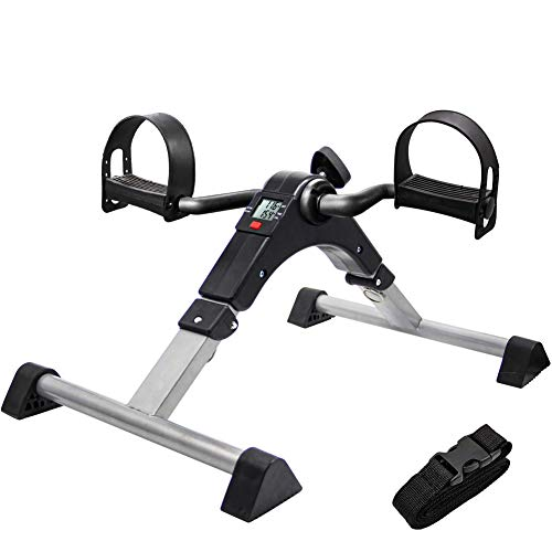 SOGAGYM Folding Under Desk Bike Pedal Exerciser with LCD Display for Seniors Legs/Arms Physical Therapy Workout at Home Office Fully Assembled Pedller  Foldable Black