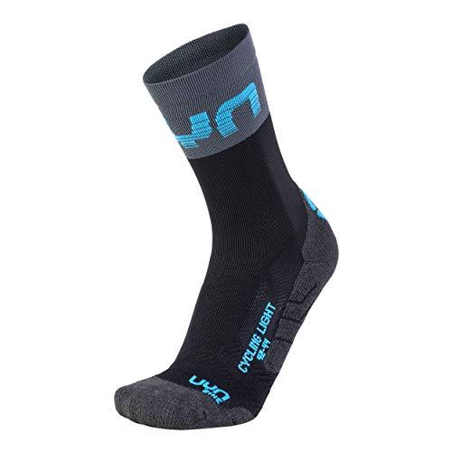 UYN Herren Cycling Light Socke, Black/Grey/Indigo Bunting, 45/47