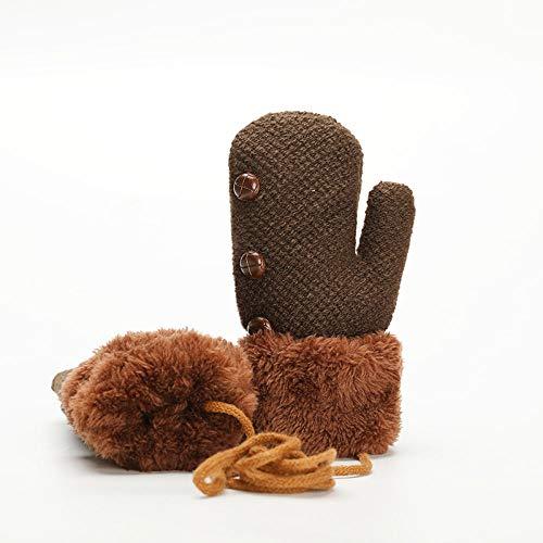 BFQCBFSG Kinderhandschuhe Winter Warm Gestrickt Hängender Hals Finger Plus Samt Dick Niedlich Cartoon Jungen Baby Wolle Handschuhe-One Size_Brown