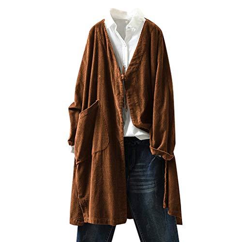 masrin Tops Frauen Mantel Plus Size Vintage Cord Oberbekleidung Langarm Freizeitjacke Bluse(XXXXXL,Braun)