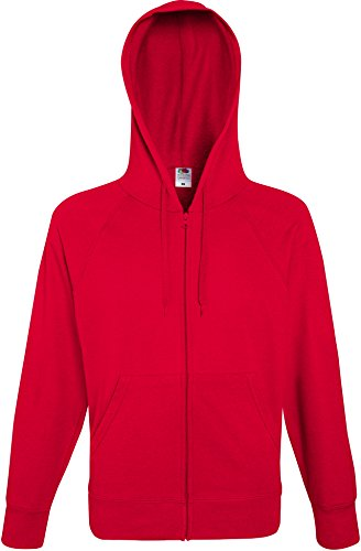 Fruit of the Loom Lightweight Hooded Sweat Jacket Veste de Sport, Rouge (Red 400), X-Large Homme