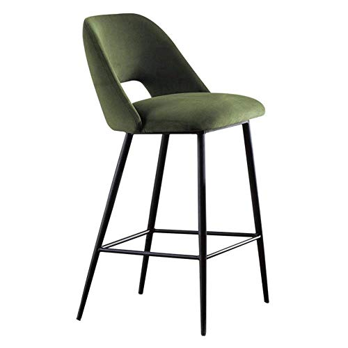 ZfgG barkruk, bar, hoge bureaustoel met kruk, velours, zitting en zwart, van metaal, koolstofstaal, voor keuken, ontbijt, eetstoel