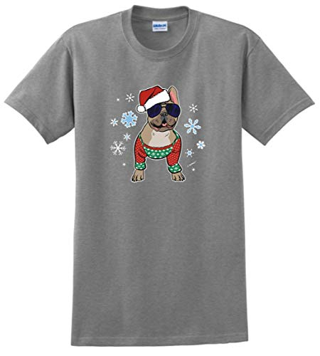 Dog Related Gifts Xmas Gifts for Dog Owners Christmas Clothes Frenchie in a Christmas Sweater T-Shirt 4XL SpGry Sport Grey