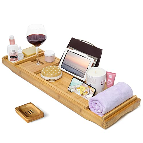 CINEYO Luxury Bamboo Bathtub Caddy Tray -Expandable Bath Table Over Tub with Wine Glass Book and Phone Holder and Free Soap Dish