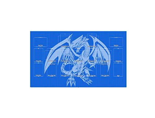 AArt TM Yugioh Blueprint Template 2017 Master Rule 4 Link Zone Playmat - Blue Eyes Dragon TCG Playmat - MTG Playmat - TCG Playmat - Yugioh Duel Playmat, Gaming Playmat
