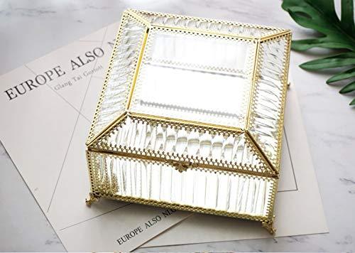 Sksngf Caja de joyería, joyería de la caja de almacenaje, cobre, material de cristal, de gran capacidad esmerilado transparente caja, geométrica clasificación caja, cubierta de polvo, cumpleaños, rega
