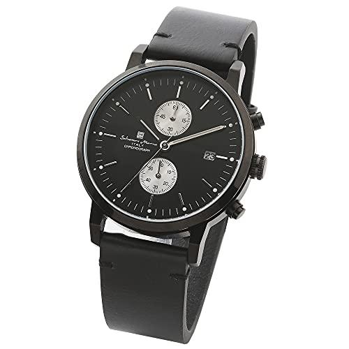 [ Salvatore Marra(サルバトーレマーラ) ] クロノグラフ うで時計 シンプル イタリアンブランド ビジネス 薄型 アナログ クオーツ メンズ ユニセックス プレゼント 革ベルト ブラック BKBK