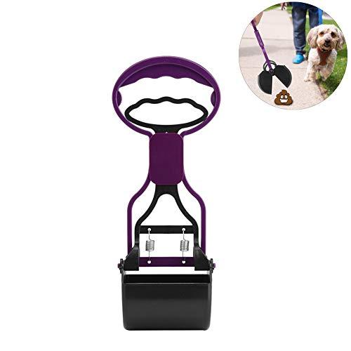 Pooper Scooper para Mascotas, Removedor Limpiador para Mascotas Scober Picker Brazos Longitud Pooper Scooper Recogida de Limpieza Clip de popa para Uso en Exteriores Interiores(Púrpura)