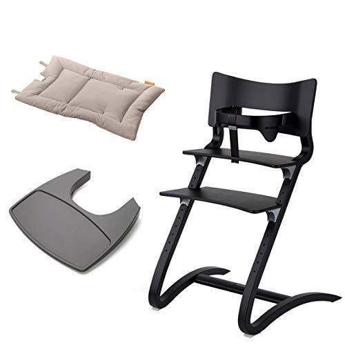 Leander Stuhl schwarz lackiert - Hochstuhl - Kinderstuhl - Erwachsenenstuhl mit Babybügel + Tablett grau + Kissen cappuccino