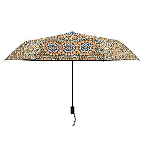 Paraguas invertido de flores compactas y azulejos marroquíes a prueba de viento paraguas portátil ligero a prueba de viento mujeres paraguas sol lluvia perfecto plegable niños paraguas niñas
