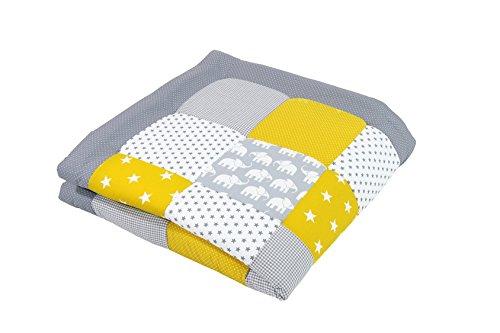 ULLENBOOM ® Baby Krabbeldecke Elefant Gelb (120x120 cm Baby Kuscheldecke, ideal als Laufgittereinlage, Spieldecke, Motiv: Punkte, Sterne, Patchwork)