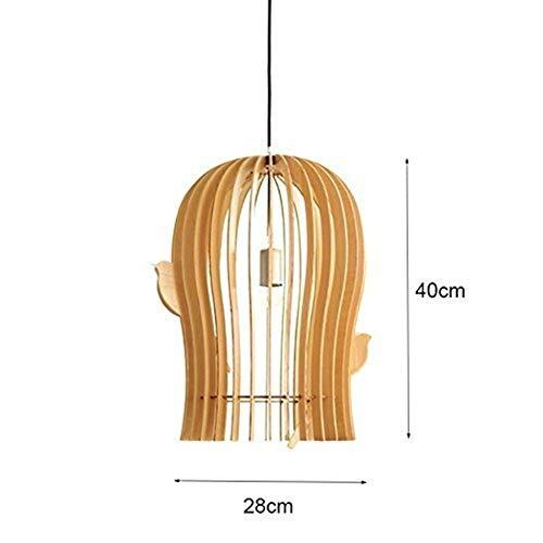 CKQ-KQ Hanglampen originele houten kroonluchters, Modern Leisure Balcony Houten Art Restaurant Lampen, 28 * 40cm (Color : 28 * 40cm)