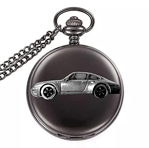 Clásico alemán coche deportivo 911 Circa 1993 ref194 diseño de efecto peltre en una caja de color negro pulido reloj de bolsillo de cuarzo para hombre