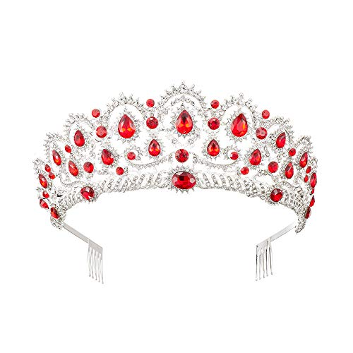 MACOIOR Tiara Crowns for Women,Vintage Crystal Rhinestone Pageant Princess Crowns With Comb Baroque Wedding Bridal Tiaras Hair Accessories (Red)