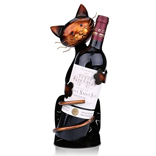 Tooarts Katze Weinflaschenhalter Getränkeflaschehalter Metall-Skulptur