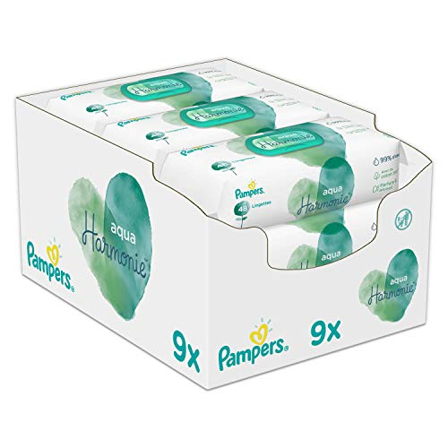 Pampers Aqua Pure Babydoekjes, 432 Babydoekjes Gemaakt Met 99% Puur Water, Dermatologisch Getest