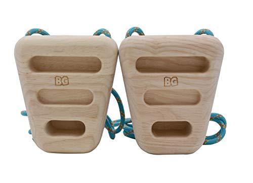 BG Climbing Los únicos anillos de roca de madera de doble cara | Hangboard compacto y portátil para entrenamiento | Equipo para el hogar para la fuerza de los dedos y la aptitud