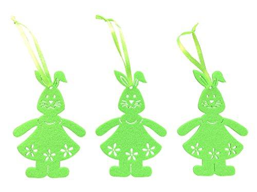 3x conejo 10x 7cm Conejo Decoración Primavera Primavera Conejo Regalo colgante de Pascua Pascua Meister lámpara Conejo Pascua decoración Conejo Fieltro, verde